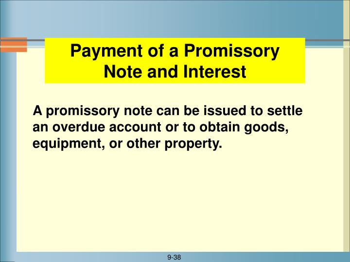Payment of a Promissory Note and Interest