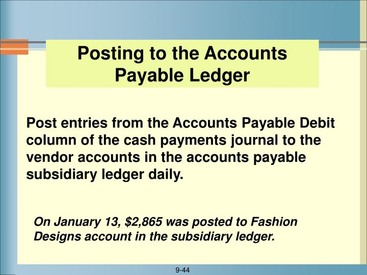 Posting to the Accounts Payable Ledger