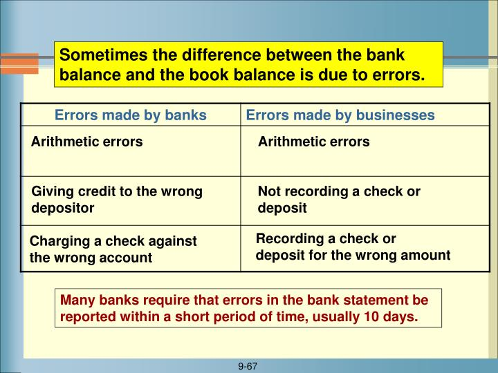 Sometimes the difference between the bank balance and the book balance is due to errors.