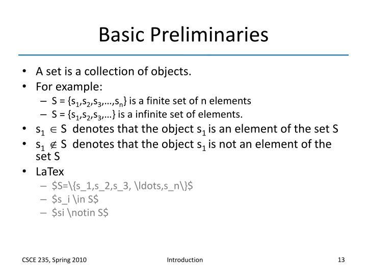 Basic Preliminaries