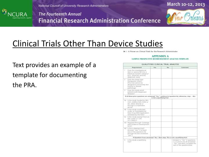Clinical Trials Other Than Device Studies