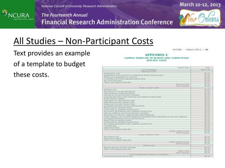 All Studies – Non-Participant Costs