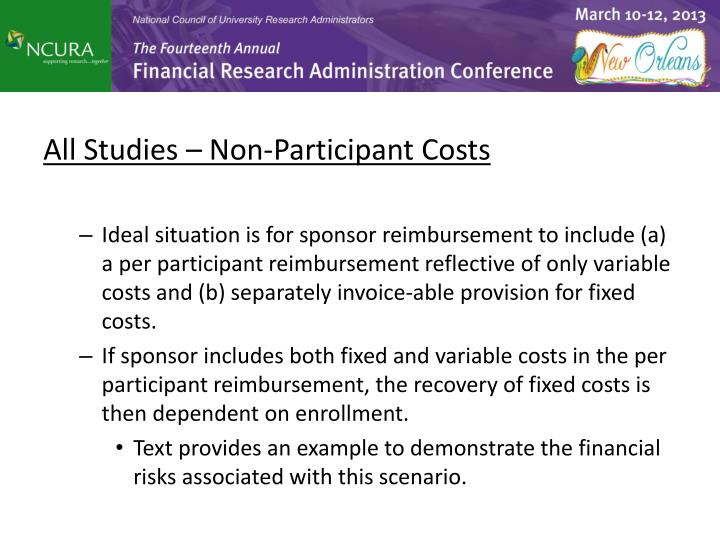All Studies – Non-Participant Costs