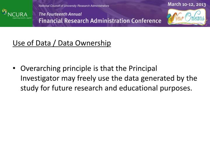 Use of Data / Data Ownership