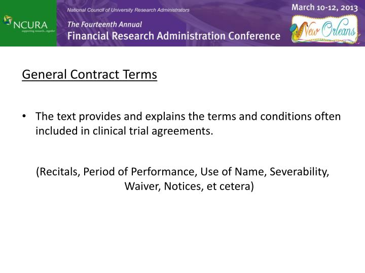 General Contract Terms