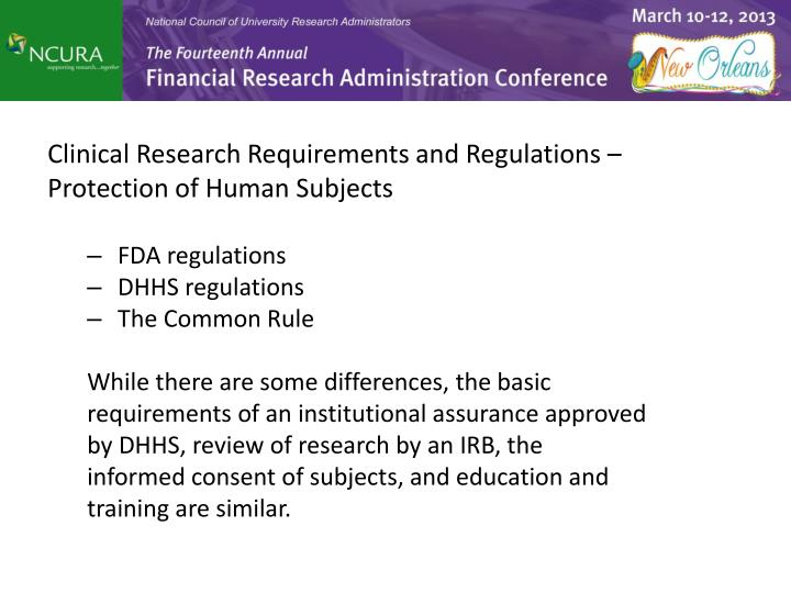 Clinical Research Requirements and Regulations –