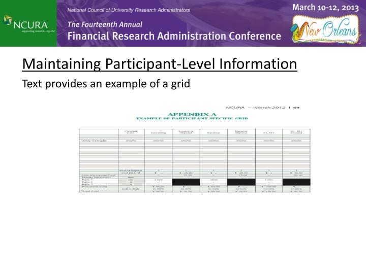 Maintaining Participant-Level Information
