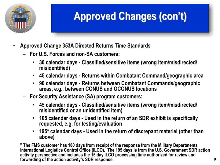 Approved Changes (con't)