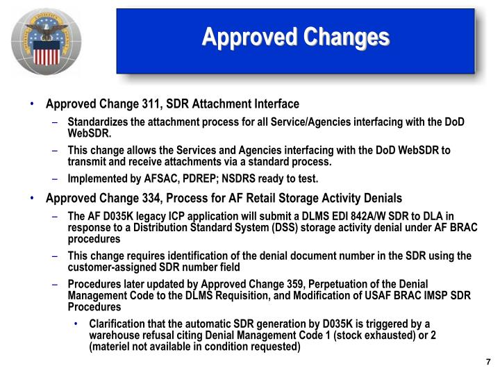 Approved Changes