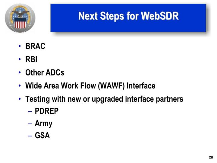 Next Steps for WebSDR