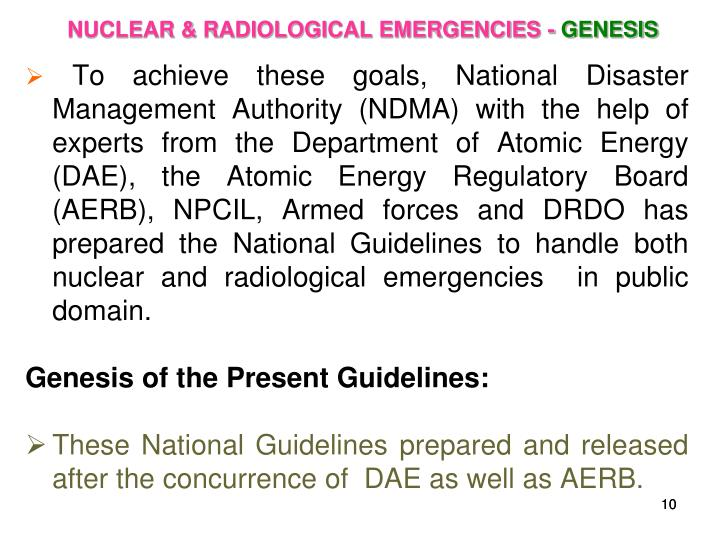 NUCLEAR & RADIOLOGICAL EMERGENCIES -