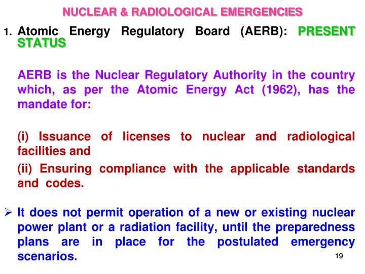 NUCLEAR & RADIOLOGICAL EMERGENCIES
