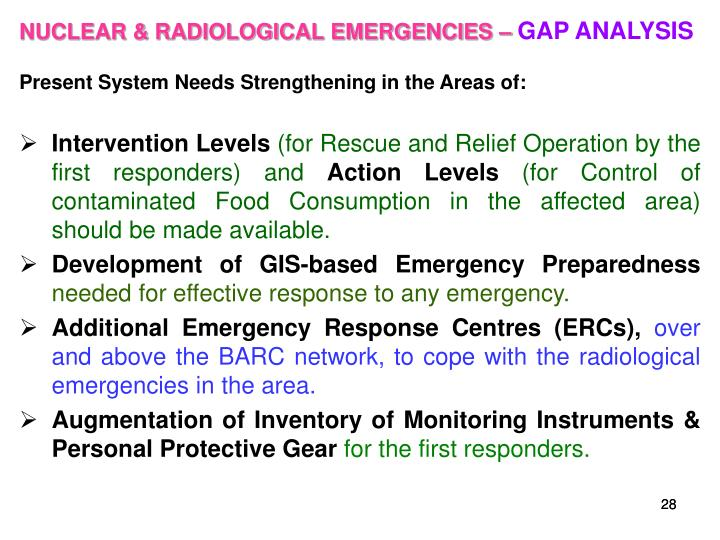 NUCLEAR & RADIOLOGICAL EMERGENCIES –