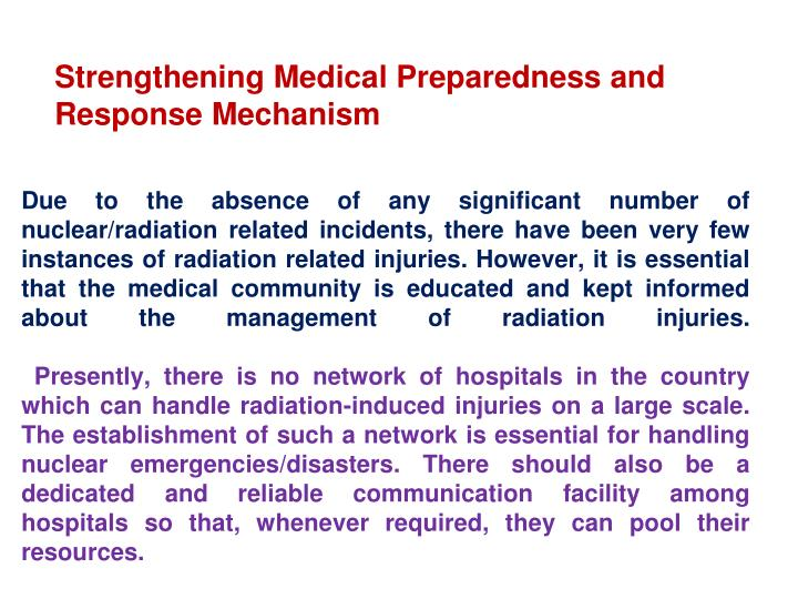 Strengthening Medical Preparedness and Response Mechanism