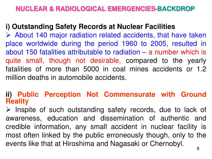 NUCLEAR & RADIOLOGICAL EMERGENCIES-