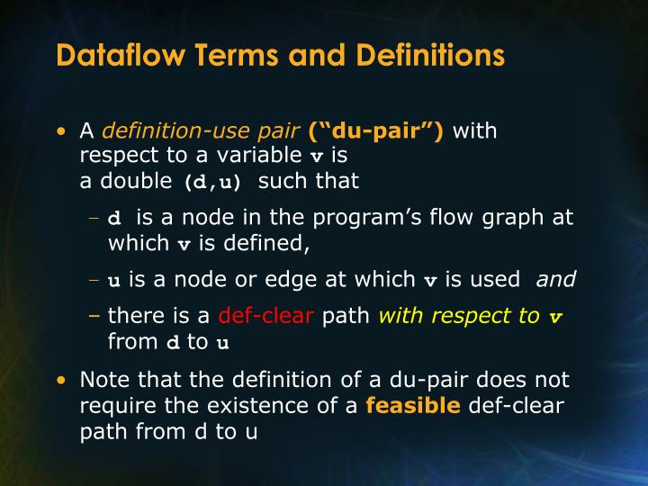 Dataflow Terms and Definitions