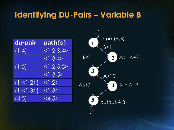 Identifying DU-Pairs – Variable B
