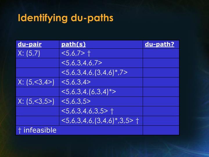 Identifying du-paths