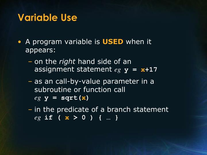 Variable Use