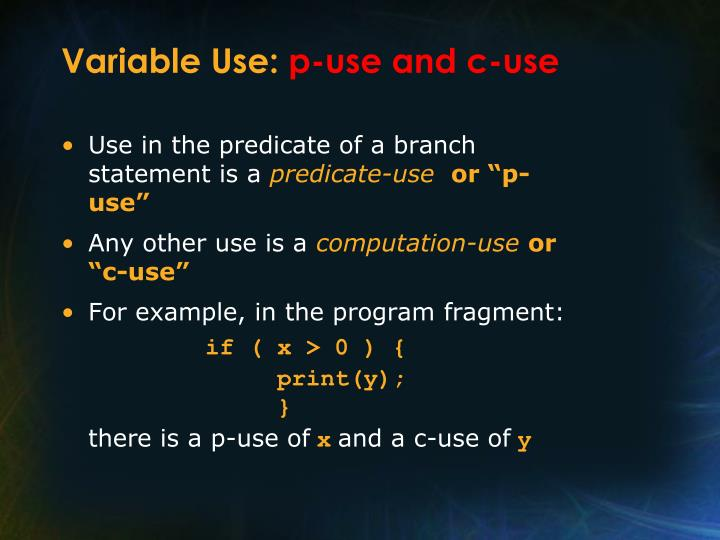 Variable Use: