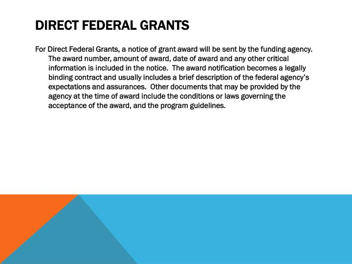 Direct Federal Grants