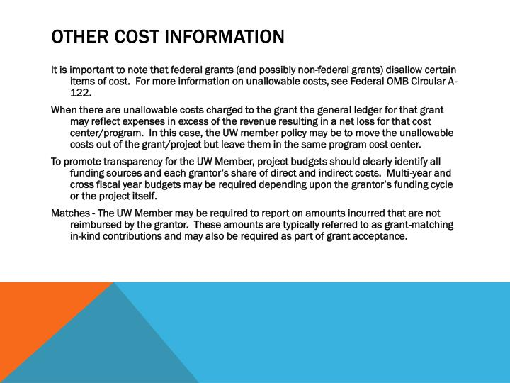Other Cost Information