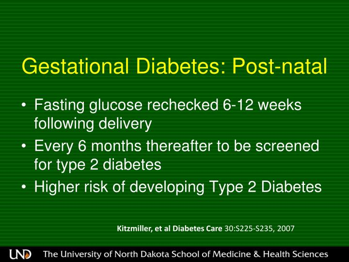 Gestational Diabetes: Post-natal