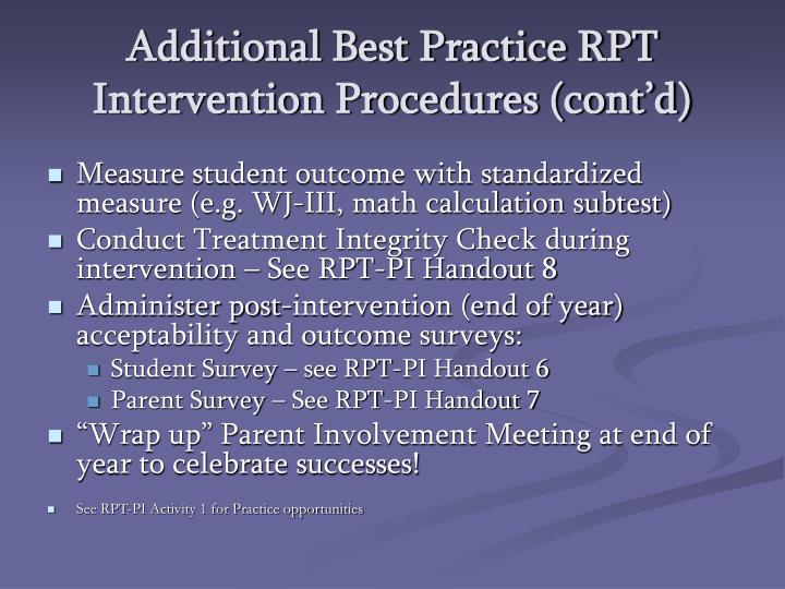Additional Best Practice RPT Intervention Procedures (cont'd)