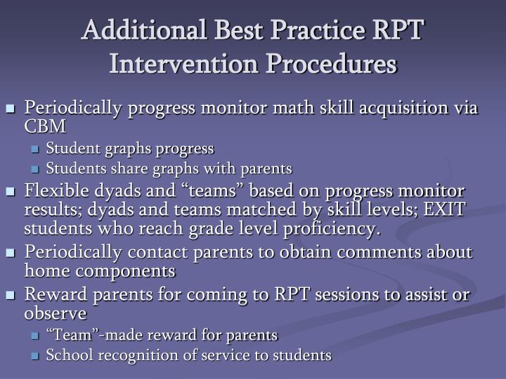 Additional Best Practice RPT Intervention Procedures