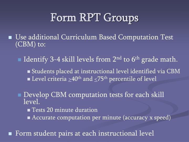 Form RPT Groups
