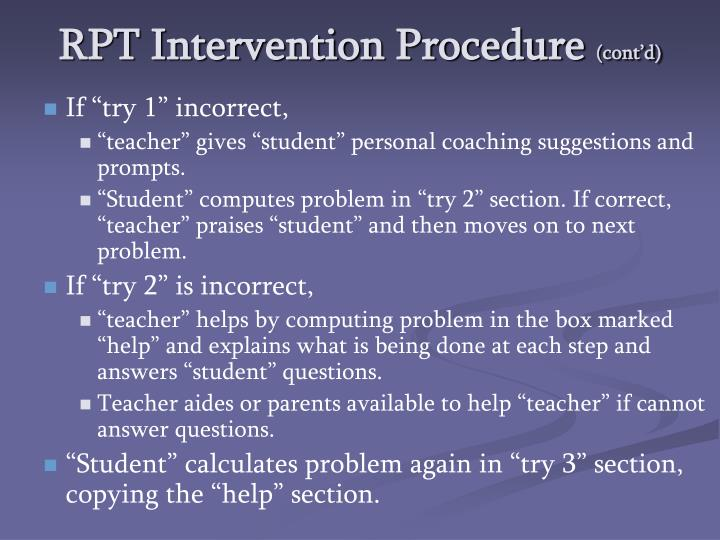 RPT Intervention Procedure