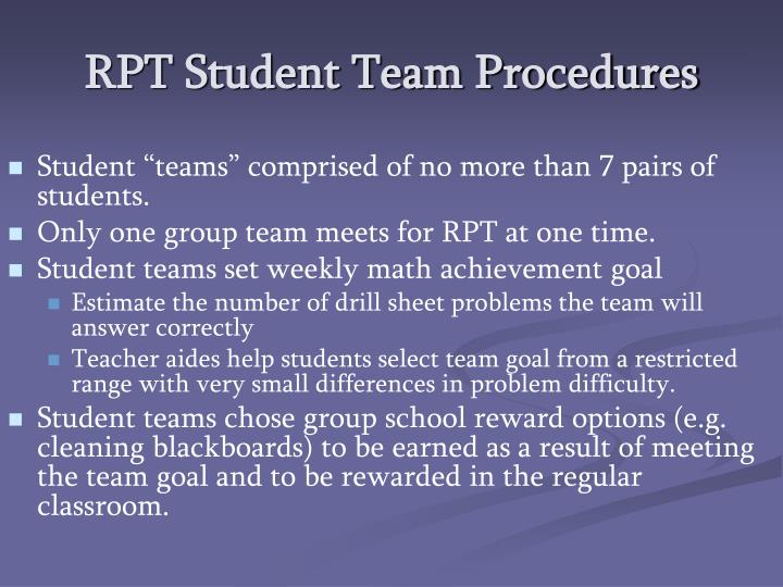 RPT Student Team Procedures