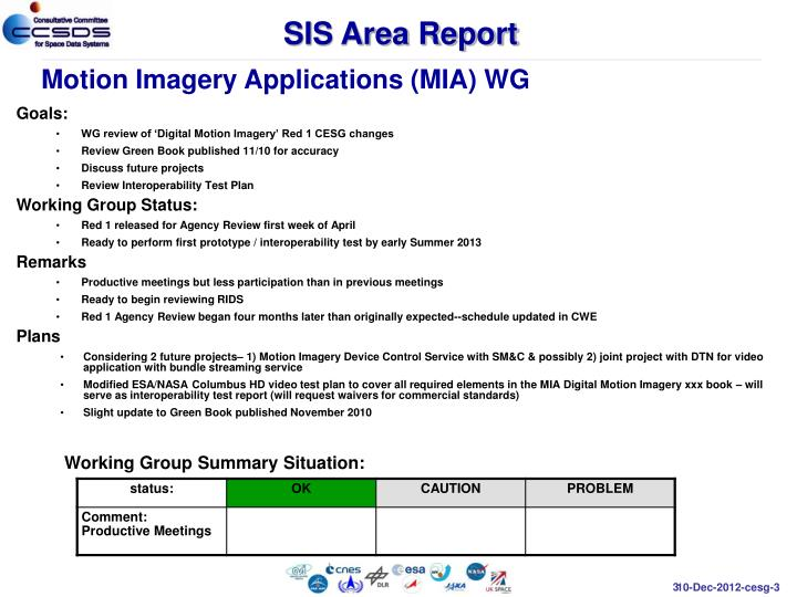SIS Area Report