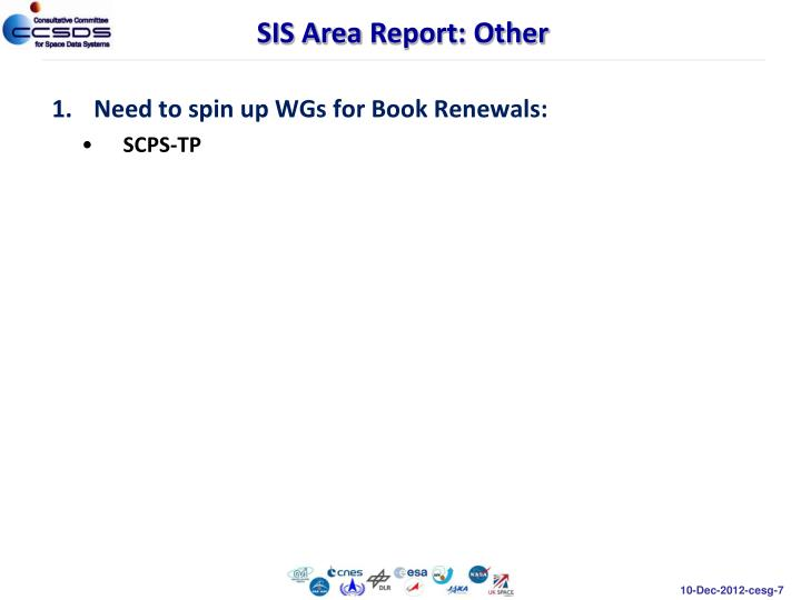 Need to spin up WGs for Book Renewals: