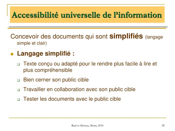 Accessibilité universelle de l'information