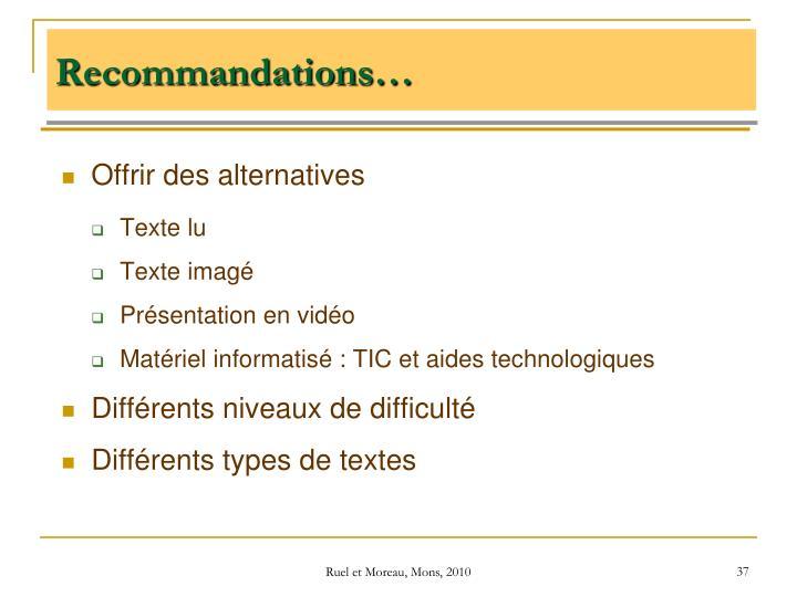 Recommandations…