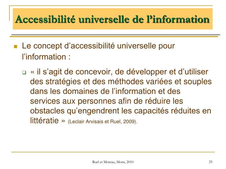 Le concept d'accessibilité universelle pour l'information :