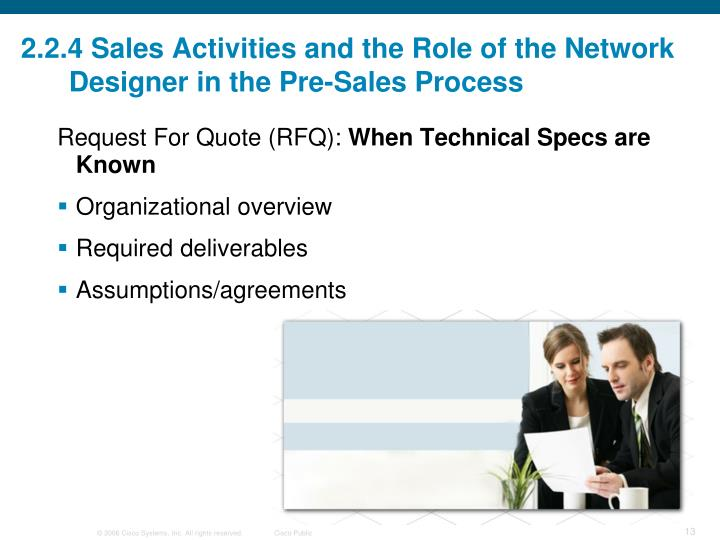 2.2.4 Sales Activities and the Role of the Network Designer in the Pre-Sales Process