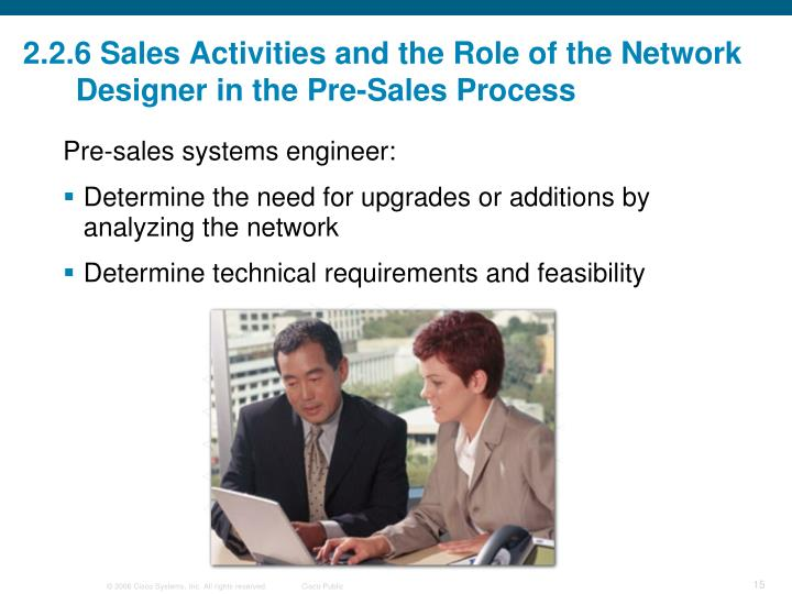 2.2.6 Sales Activities and the Role of the Network Designer in the Pre-Sales Process