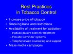 best practices in tobacco control