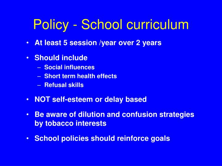 Policy - School curriculum