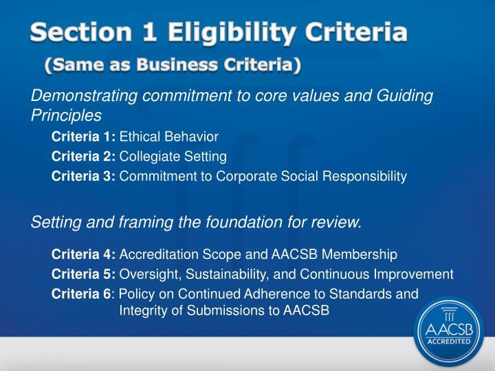 Section 1 Eligibility Criteria