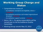 working group charge and status