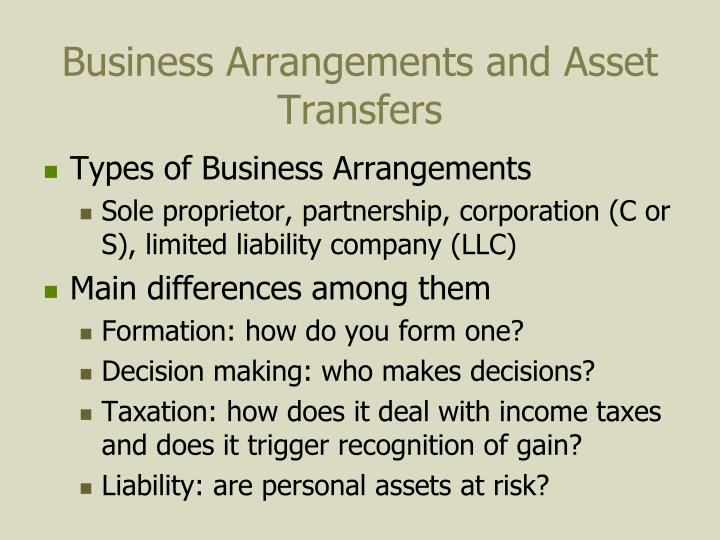 Business Arrangements