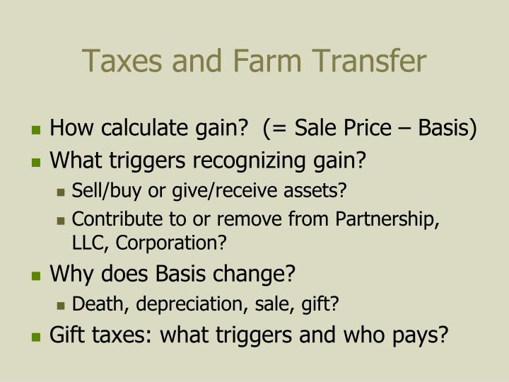 Taxes and Farm Transfer
