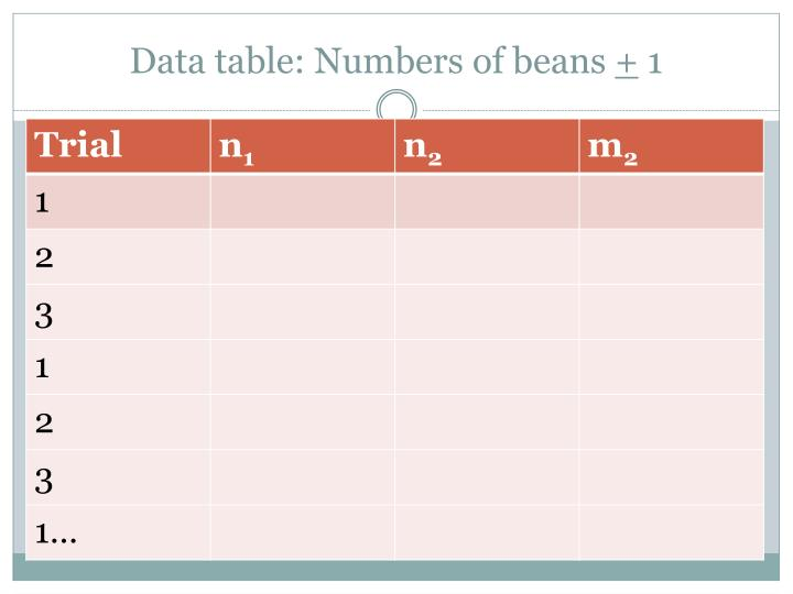 Data table: Numbers of beans