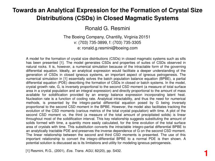 Towards an Analytical Expression for the Formation of Crystal Size