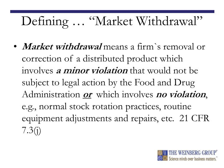 "Defining … ""Market Withdrawal"""