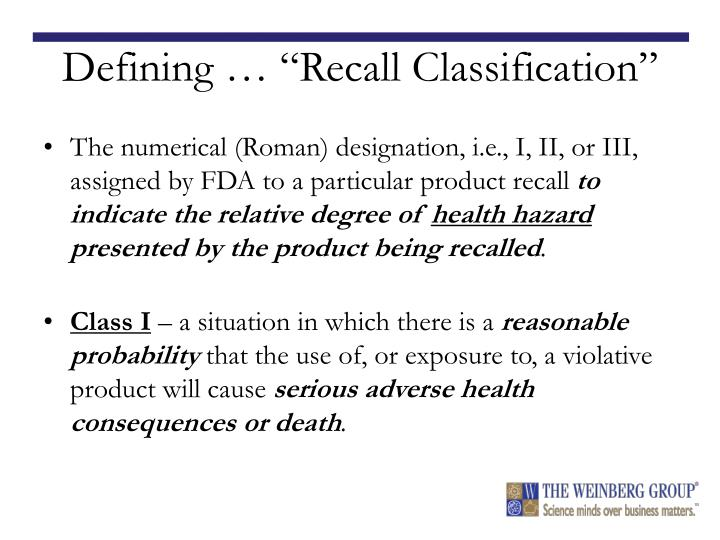 "Defining … ""Recall Classification"""