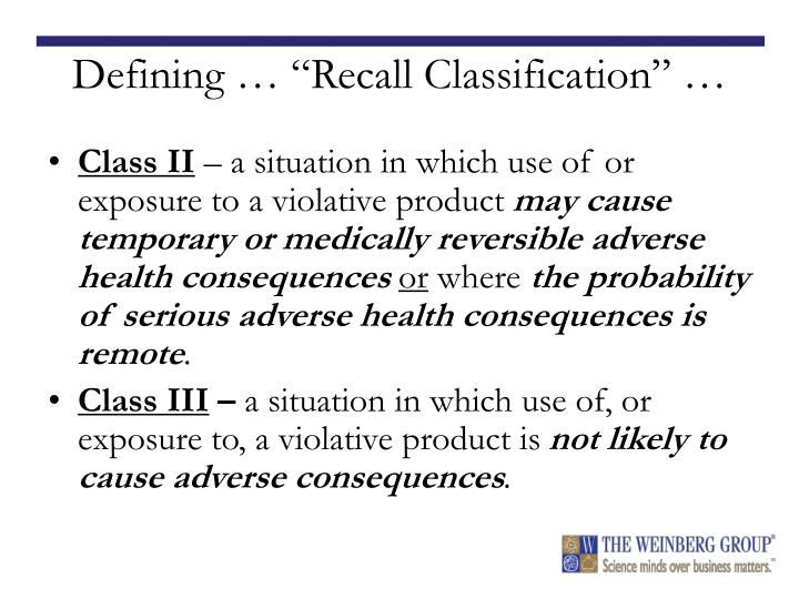 "Defining … ""Recall Classification"" …"